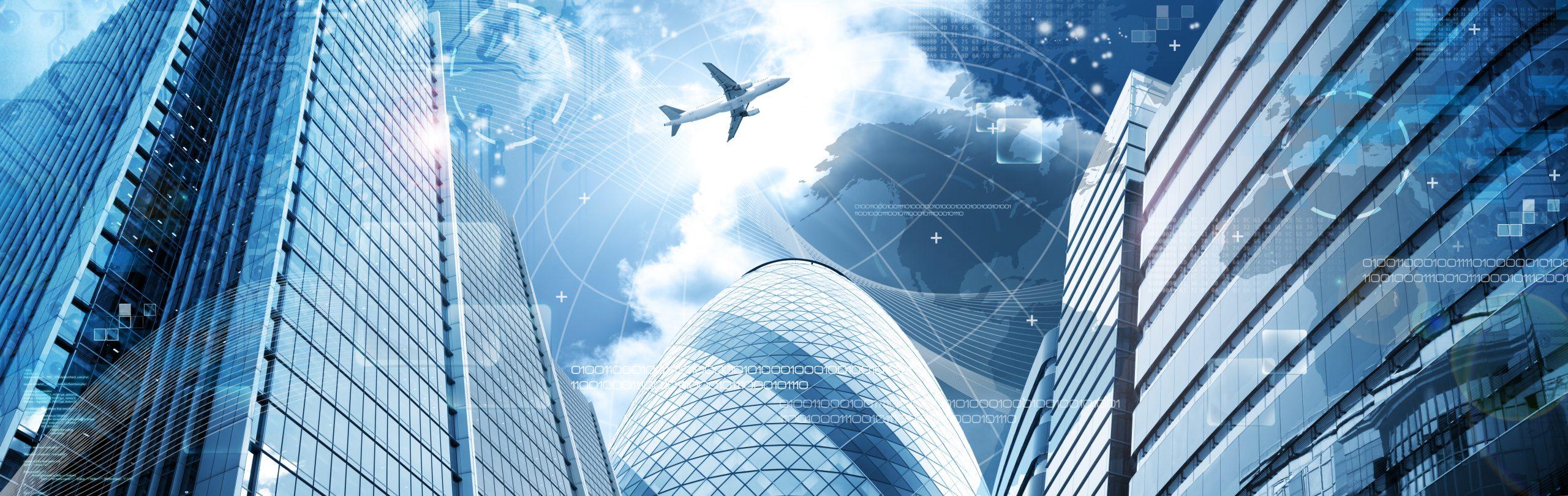 Business futuristic skyscraper banner with programm code